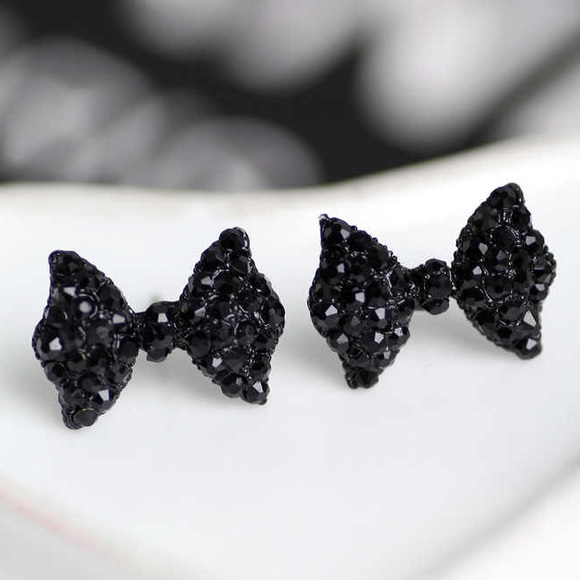 Earrings bows stud rhinestone black diamond